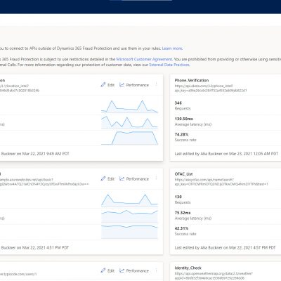 Dynamics 365 Fraud Protection: External Calls Landing Page