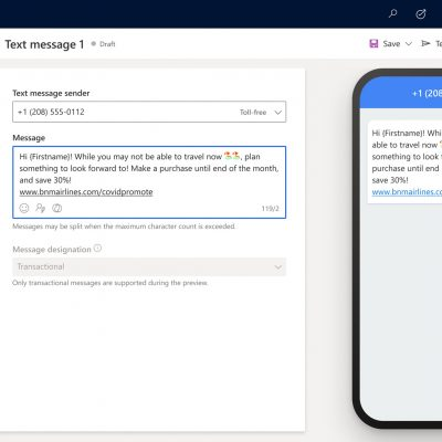 Dynamics 365 Customer Journey Orchestration: SMS Layout