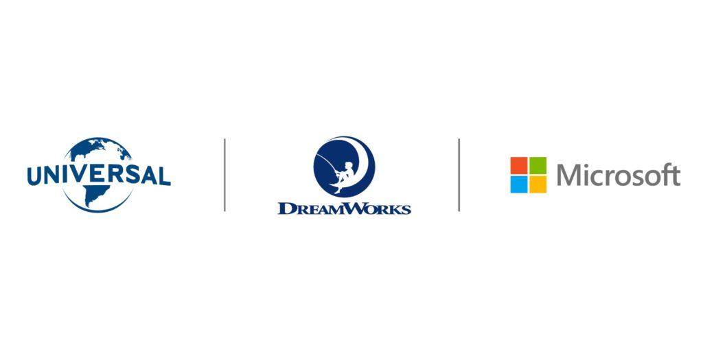Universal DreamWorks Microsoft logos
