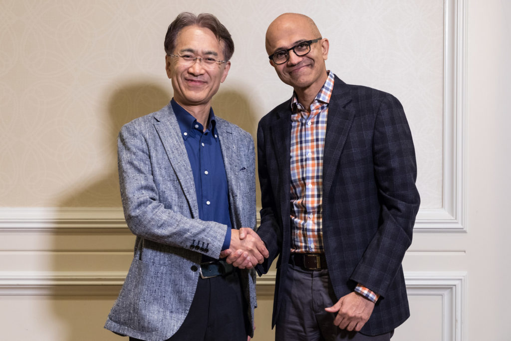 Kenichiro Yoshida, President and CEO, Sony Corporation, and Satya Nadella, CEO, Microsoft