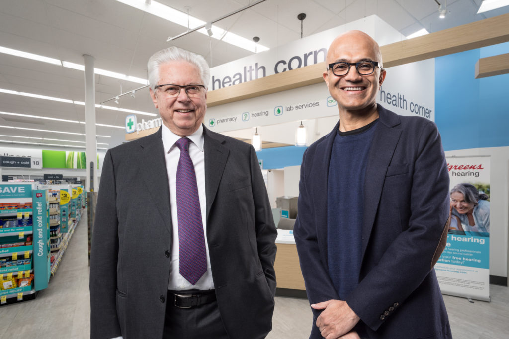 Stefano Pessina, executive vice chairman and chief executive officer of WBA, and Microsoft CEO Satya Nadella