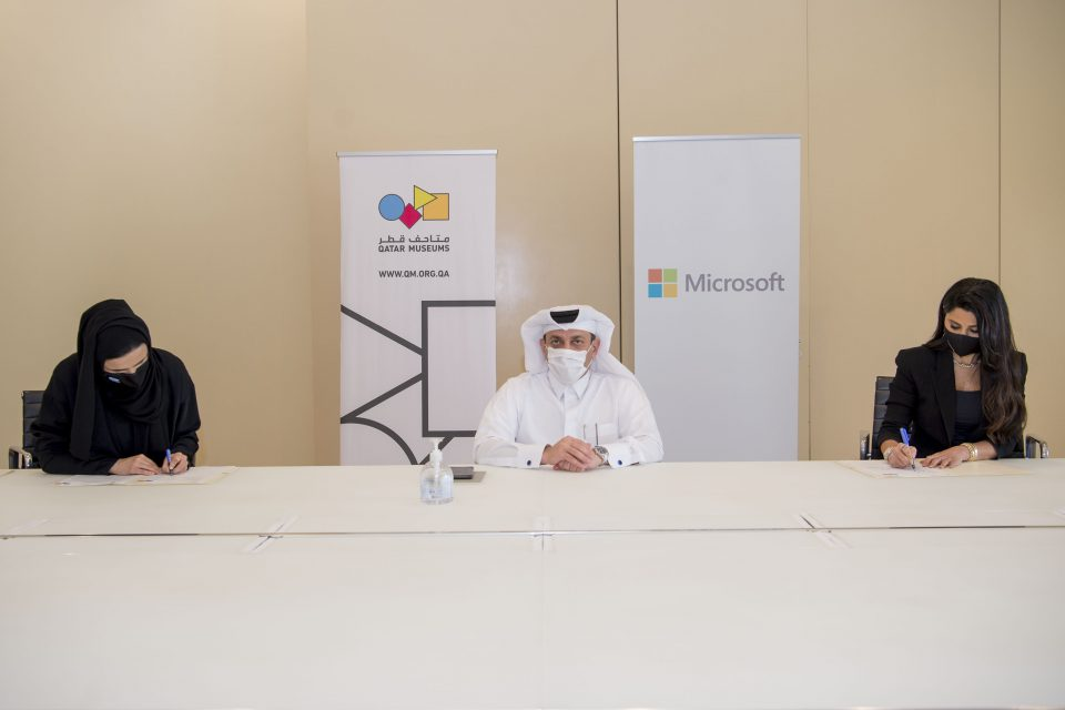 A picture of spokespersons from Microsoft and Qatar Museums during signing the agreement