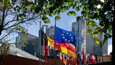 Blue/yellow European flag, among others,fluttering in front of the European Parliament building in Brussels.