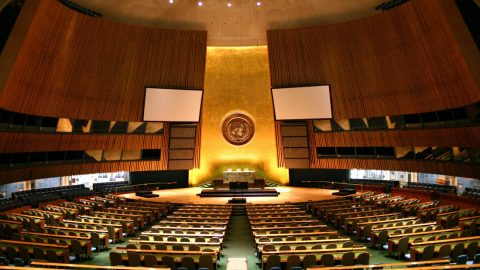 The United Nations General Assembly main hall