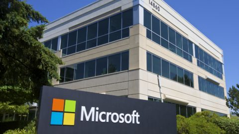 A sign and building on the Microsoft campus in Redmond, Washington.