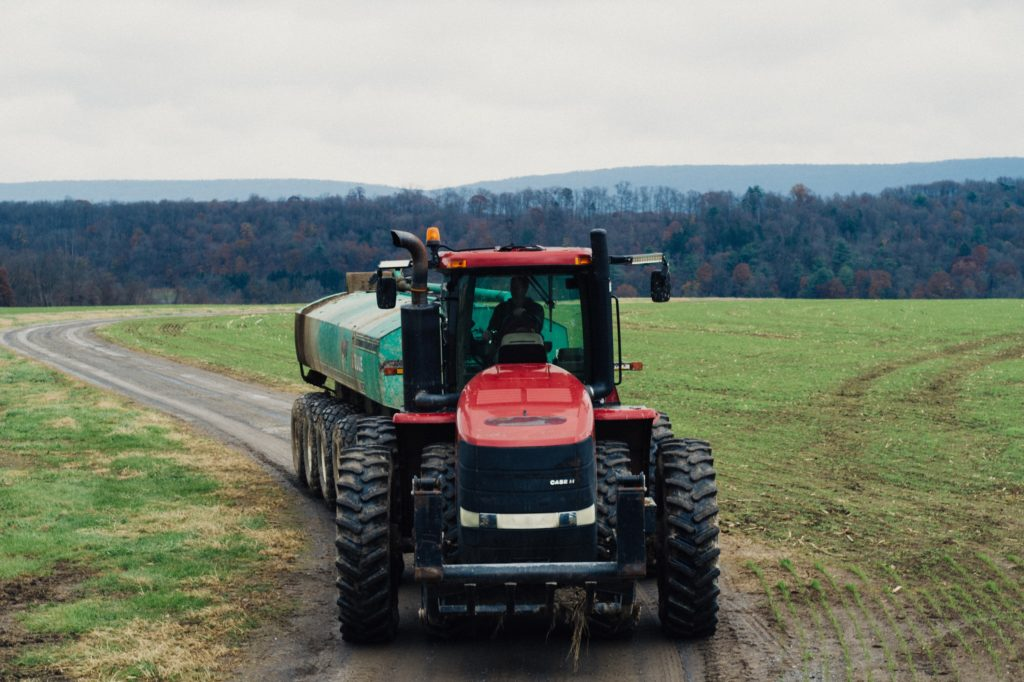 A tractor in a field.