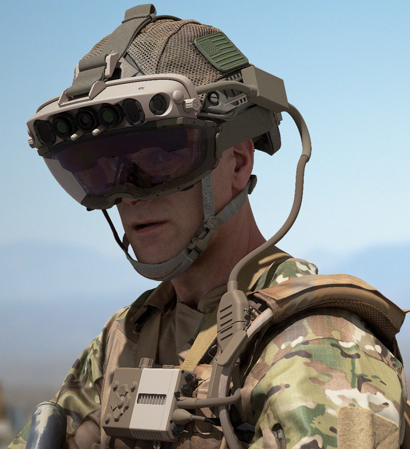 Closeup photo of a soldier wearing a mixed-reality headset.