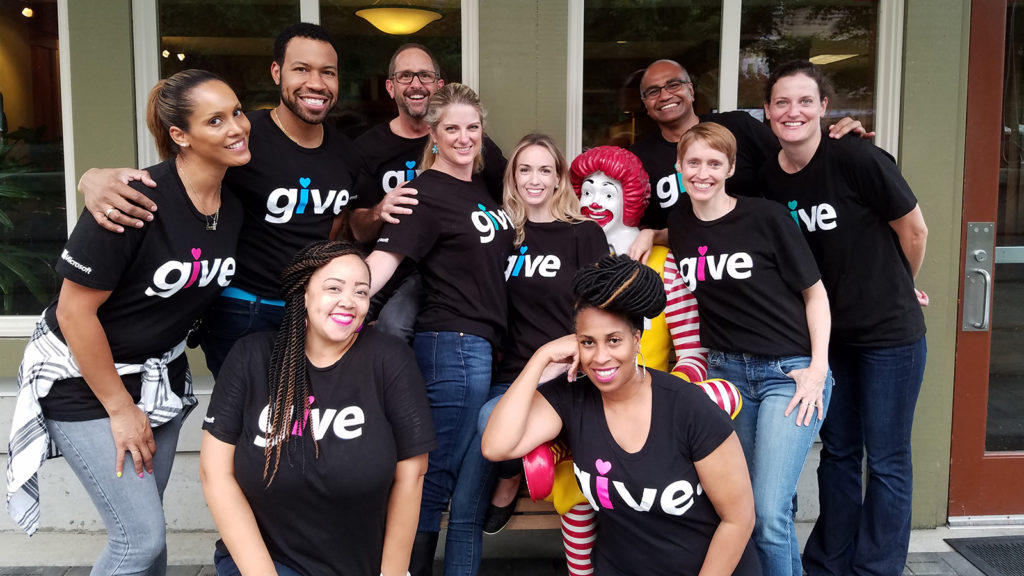 Members of Microsoft's employee giving team