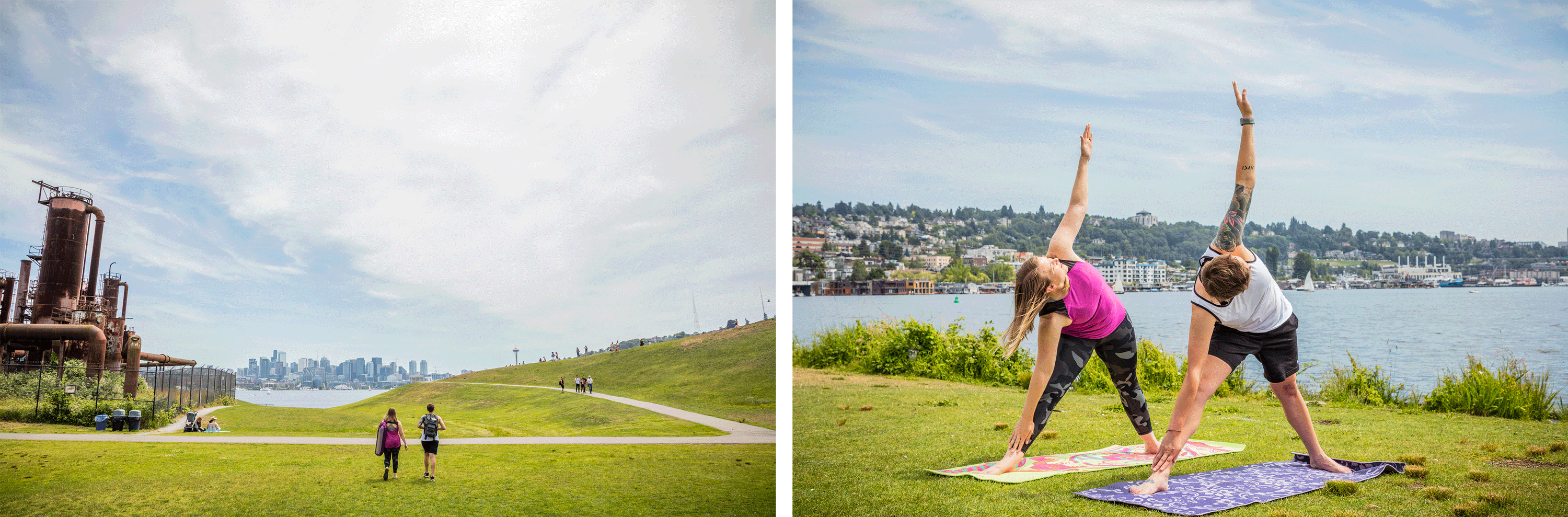Two images side by side. One of two women walking in a park carrying yoga mats. The other is a photo of the two women with arms stretched out in yoga pose.