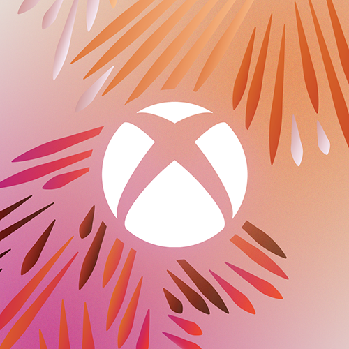 a white Xbox nexus on an orange and pink background with abstract rays of red, pink, orange, and white around it