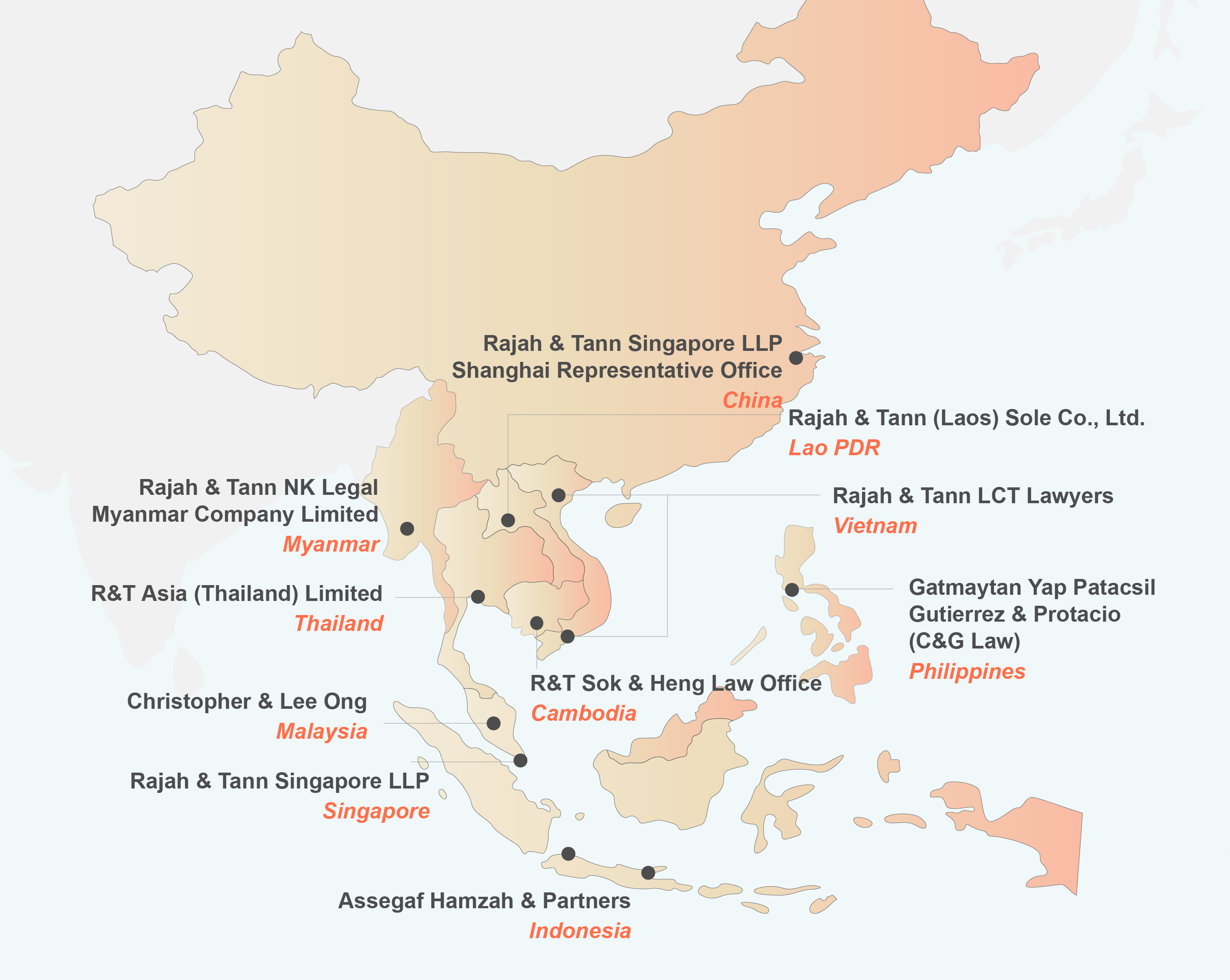Map of R&T footprint across Asia