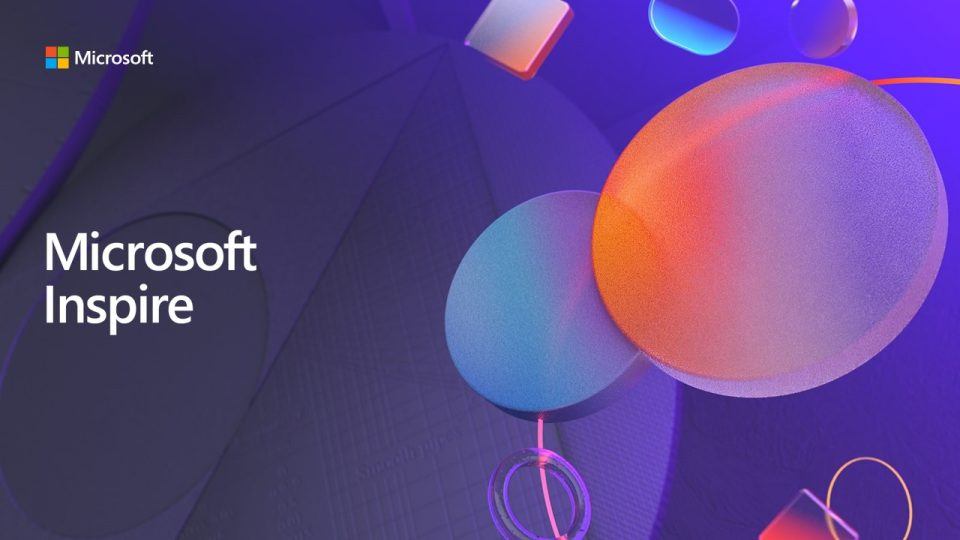Microsoft Inspire logo with rounded shapes and shades of purple