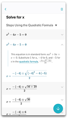 Step by step guidance in Microsoft Math Solver App for an algebra equation