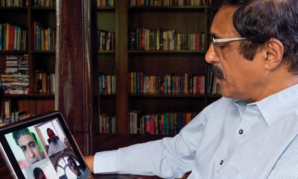 Dr BS Ajai Kumar, CEO and Chairman, HealthCare Global (HCG), using Microsoft Teams on his ipad