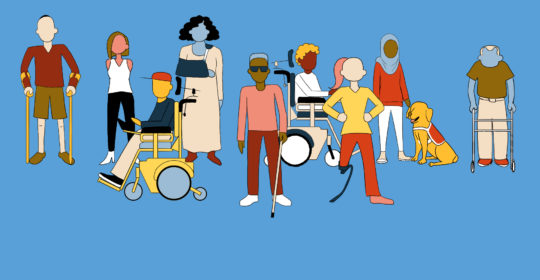 Graphical illustration depicting people with disabilities