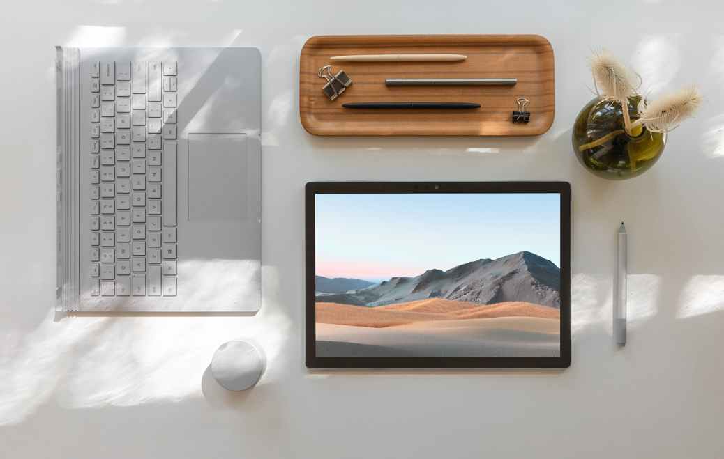 Surface Book 3 with tablet, unattached base, pen and dial
