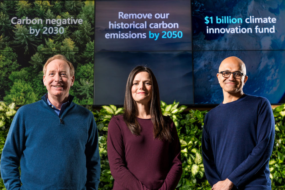 Microsoft President Brad Smith, Chief Financial Officer Amy Hood and CEO Satya Nadella preparing to announce Microsoft's plan to be carbon negative by 2030. (Jan. 15, 2020/Photo by Brian Smale)