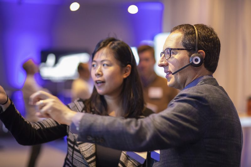 Microsoft Chief Marketing Officer Chris Capossela speaks with Microsoft Translator PM Amanda Song