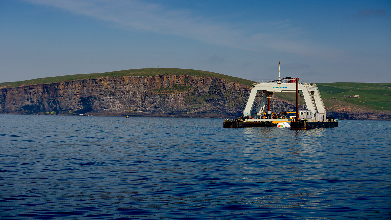 Microsoft's Project Natick on deployment day off the coast of Orkney Island, Scotland Friday June 1, 2018. (Photography by Scott Eklund/Red Box Pictures)