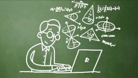 A chalkboard-like drawing of a man sitting at his Surface computer with scientific diagrams in the background
