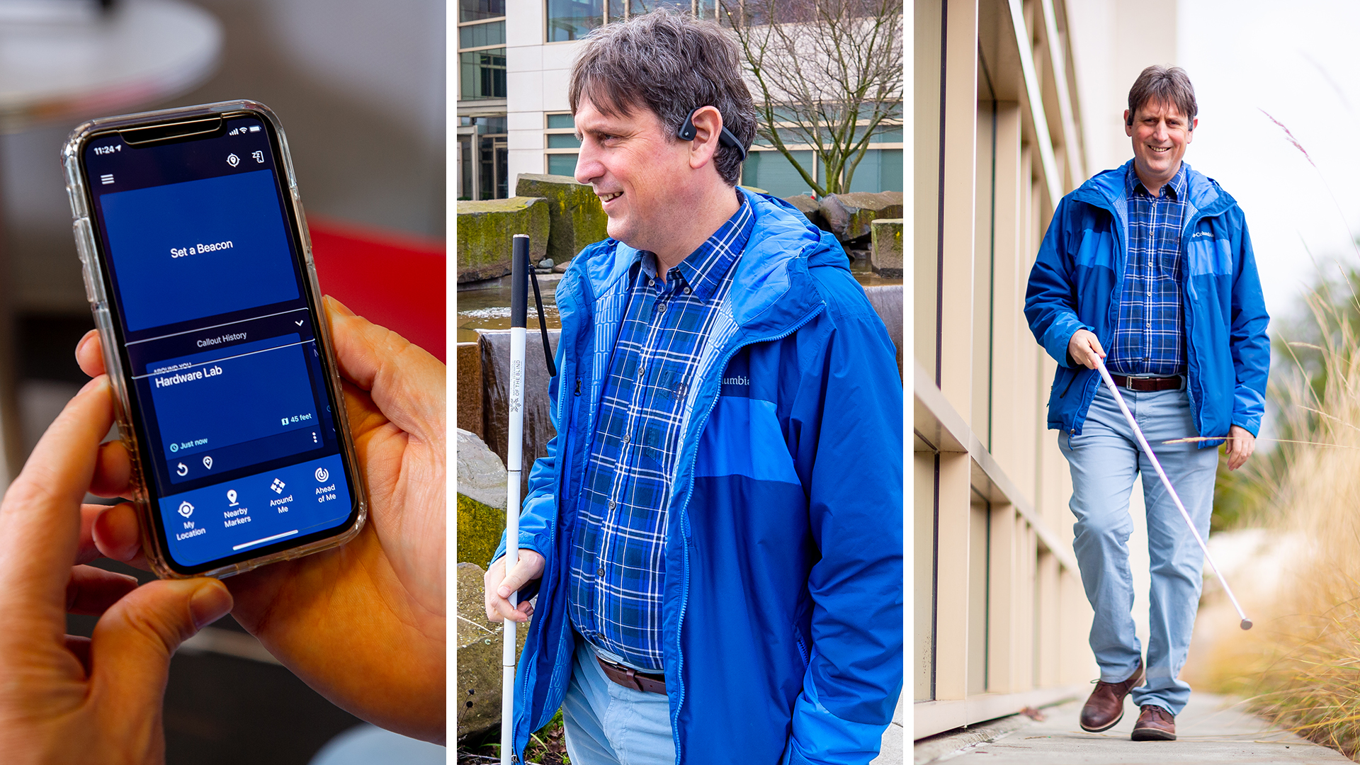 Three panels of images showing Amos Miller and the Soundscape app: Left, holding a mobile phone with app displayed; Middle, standing close up showing audio headphones; Right, Amos Miller walking towards the camera using the app