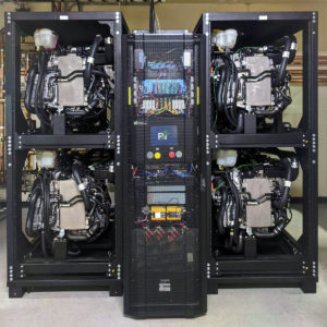A rack of 4 hydrogen fuel cells