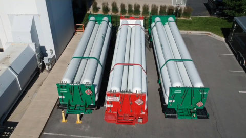 Three trailers containing hydrogen fuel