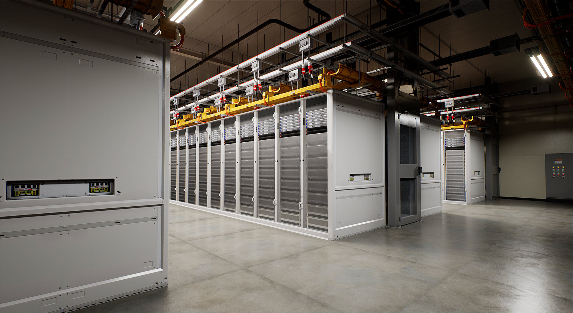 Image showing the hot aisle and cold aisle configuration of servers inside a typical Microsoft datacenter.
