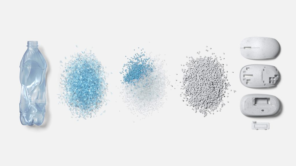 A progression of five images showing a plastic bottle, plastic beads, and a finished mouse