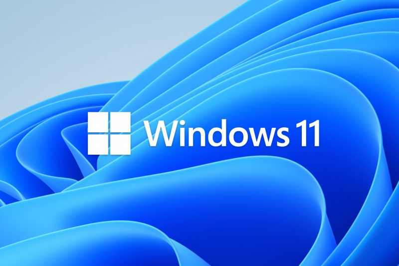 Screenshot of Windows 11 logo on a computer desktop background