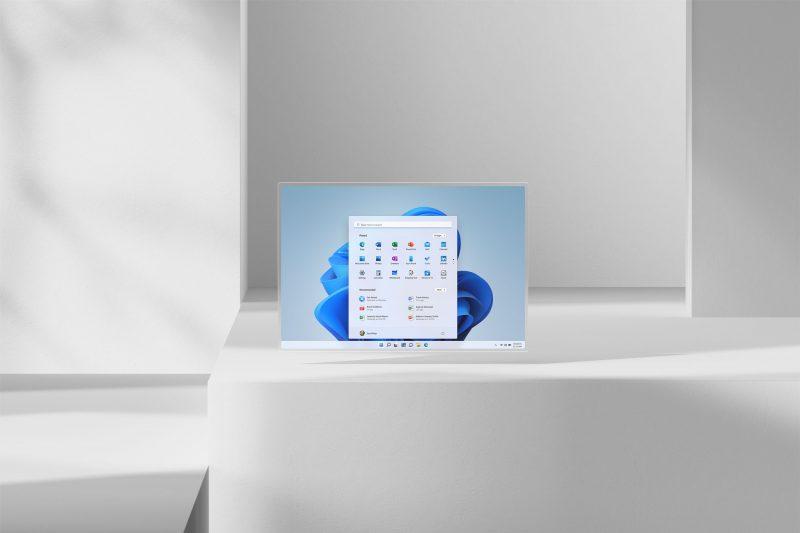 Screenshot of Windows 11 start screen placed in a 3D virtual space
