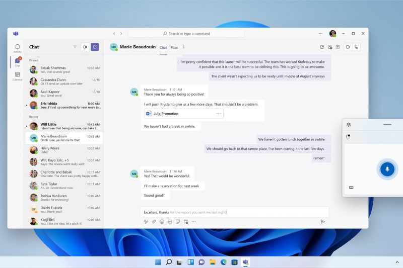 Screenshot of Teams open in Windows 11 with voice typing activated