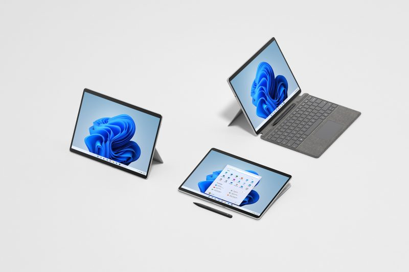 Three Surface Pro 8 devices