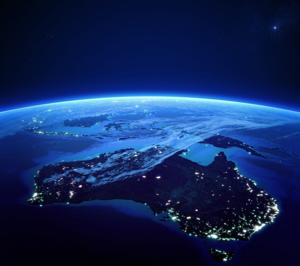Australia with city lights from space at night