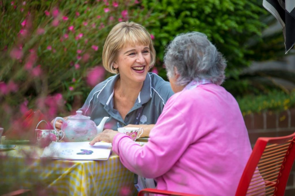 Aged care worker with the elderly