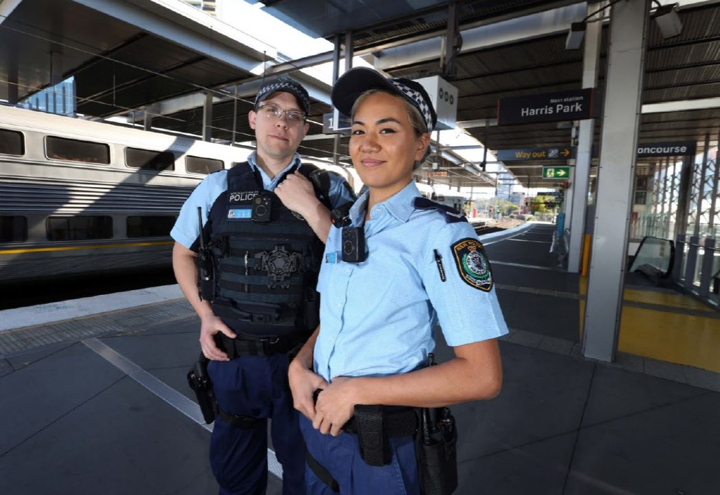 NSW Police Force officers wearing BWV cameras