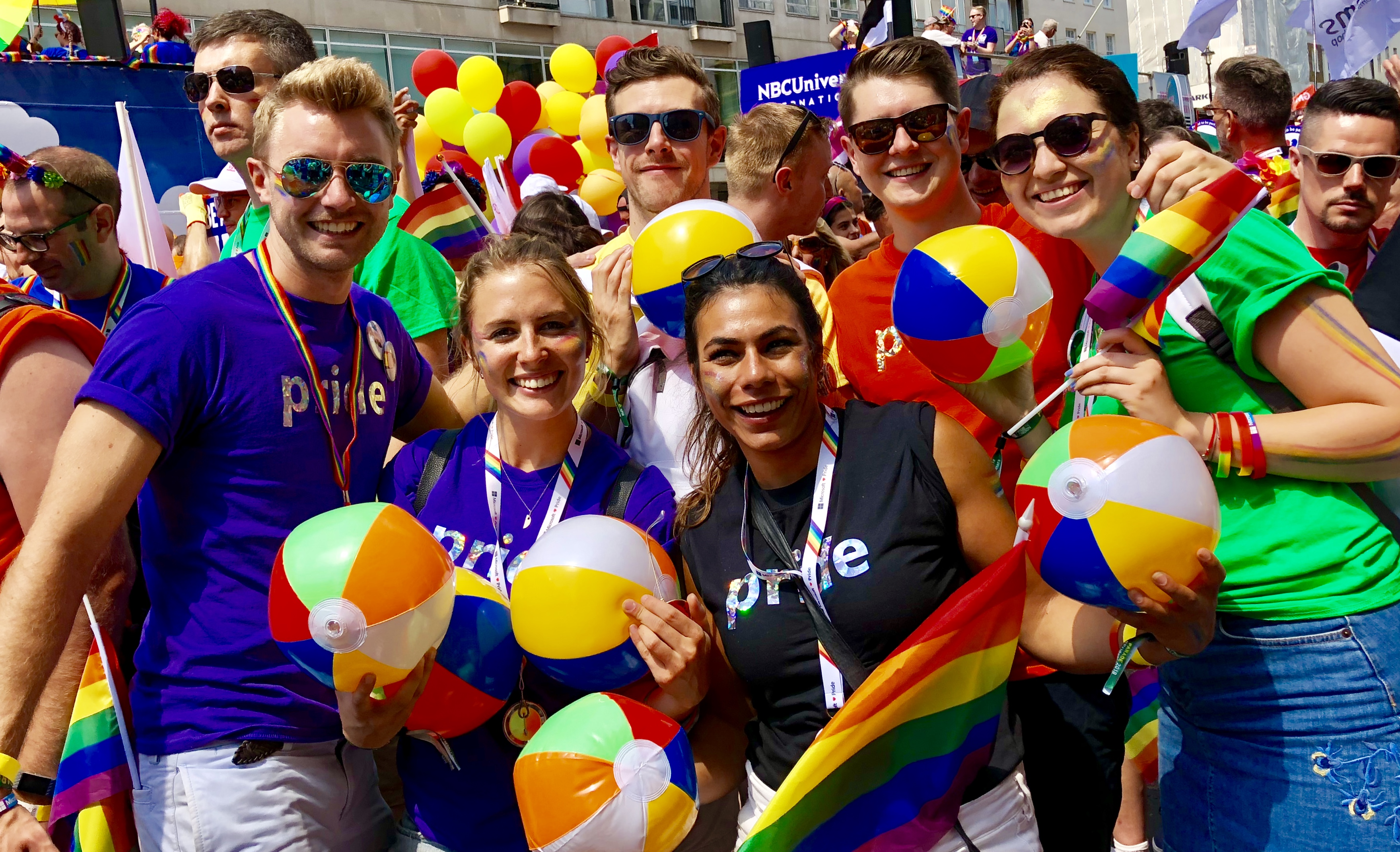 Microsoft staff at the Pride in London march 2018