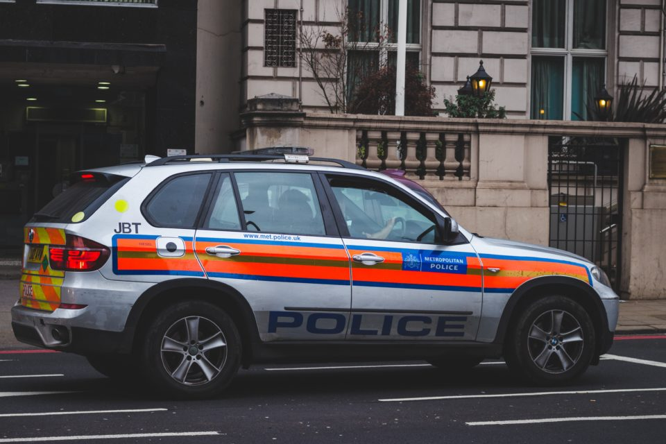 A Met Police car is seen in London