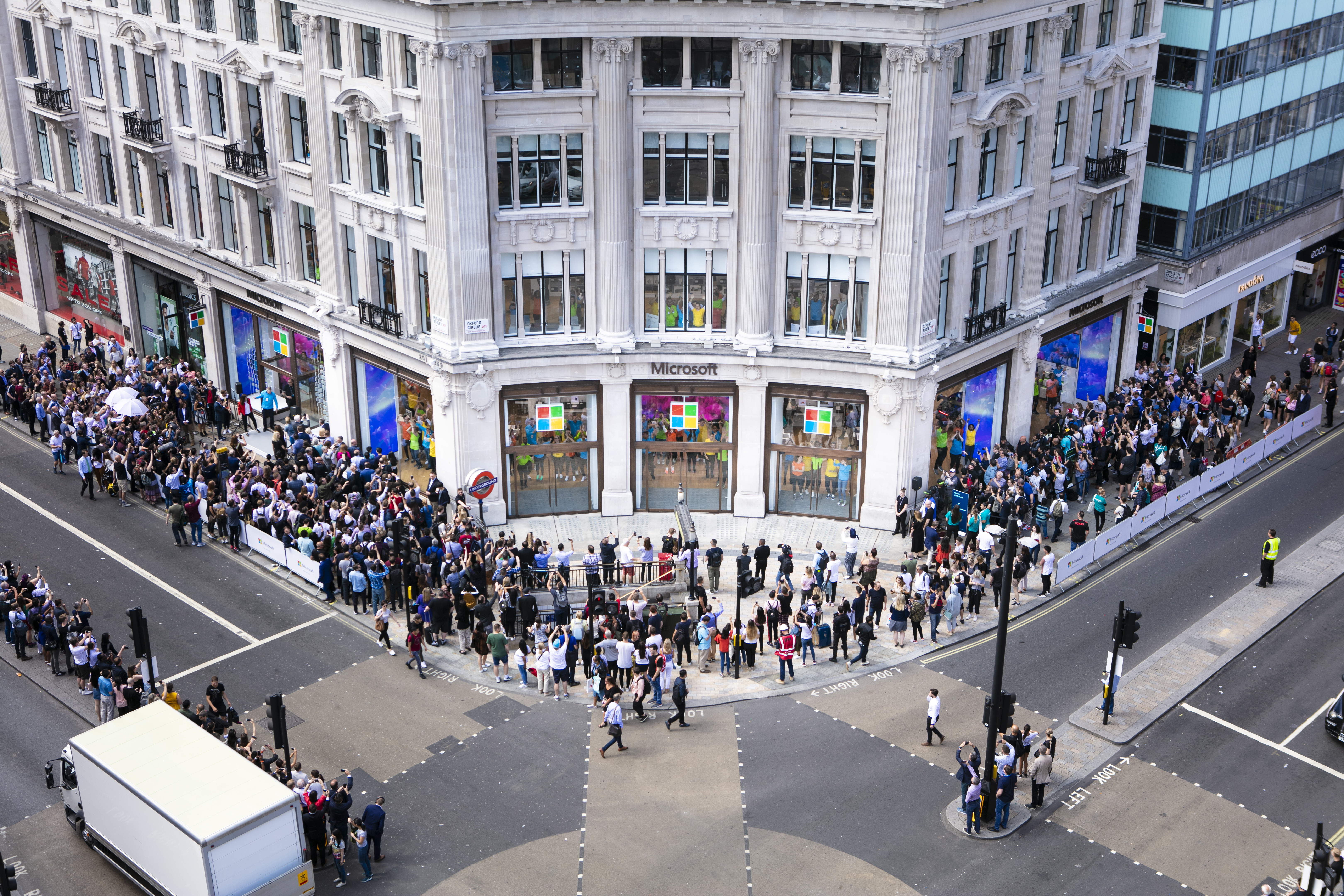An aerial view of the new Microsoft store in London