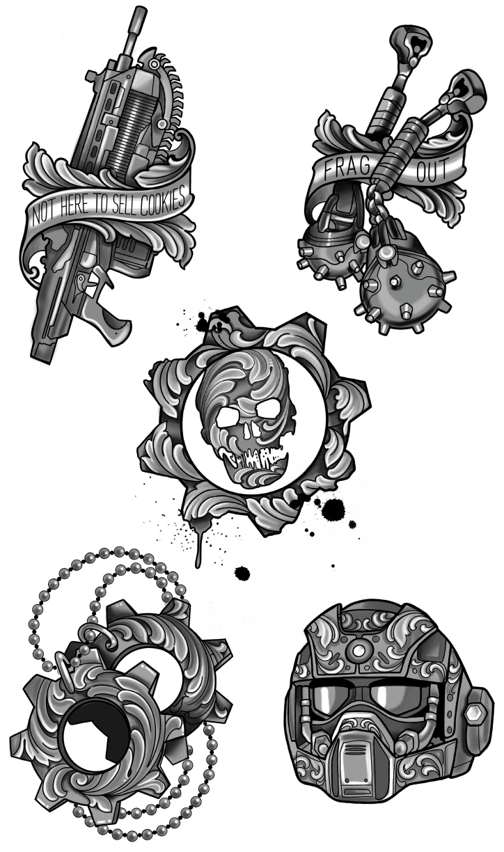 Clara Sinclair's tattoo designs for Gears 5