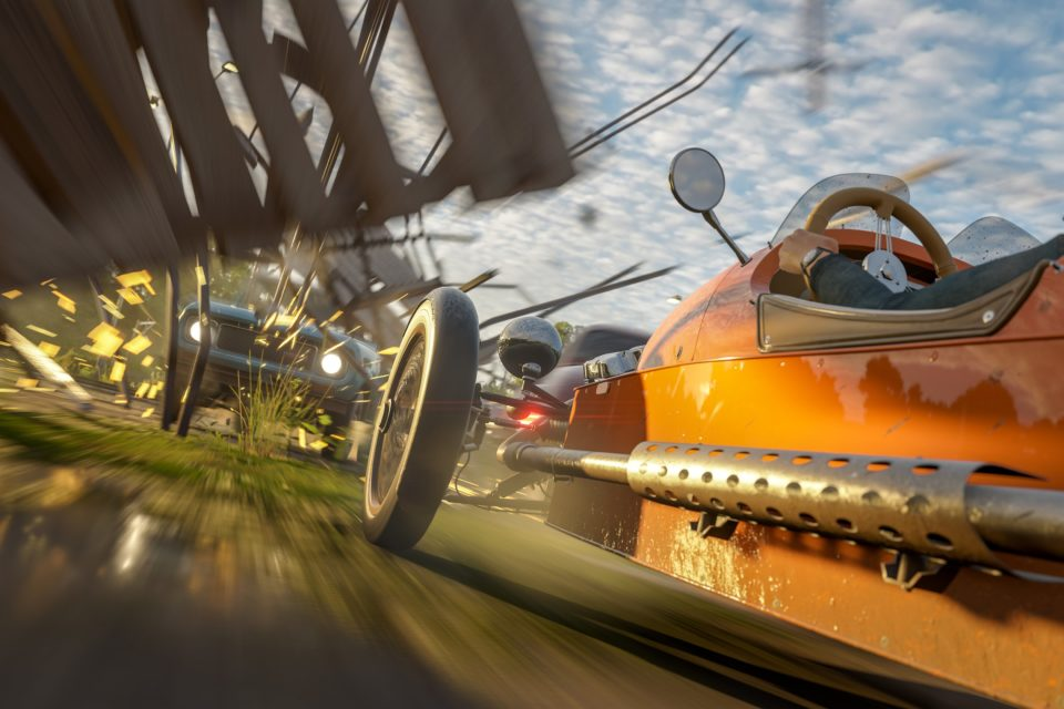 two cars race in forza horizon 4