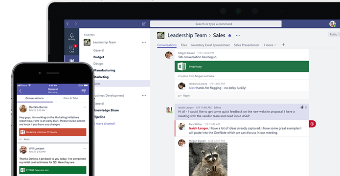 Microsoft Teams is shown on a laptop and a mobile phone