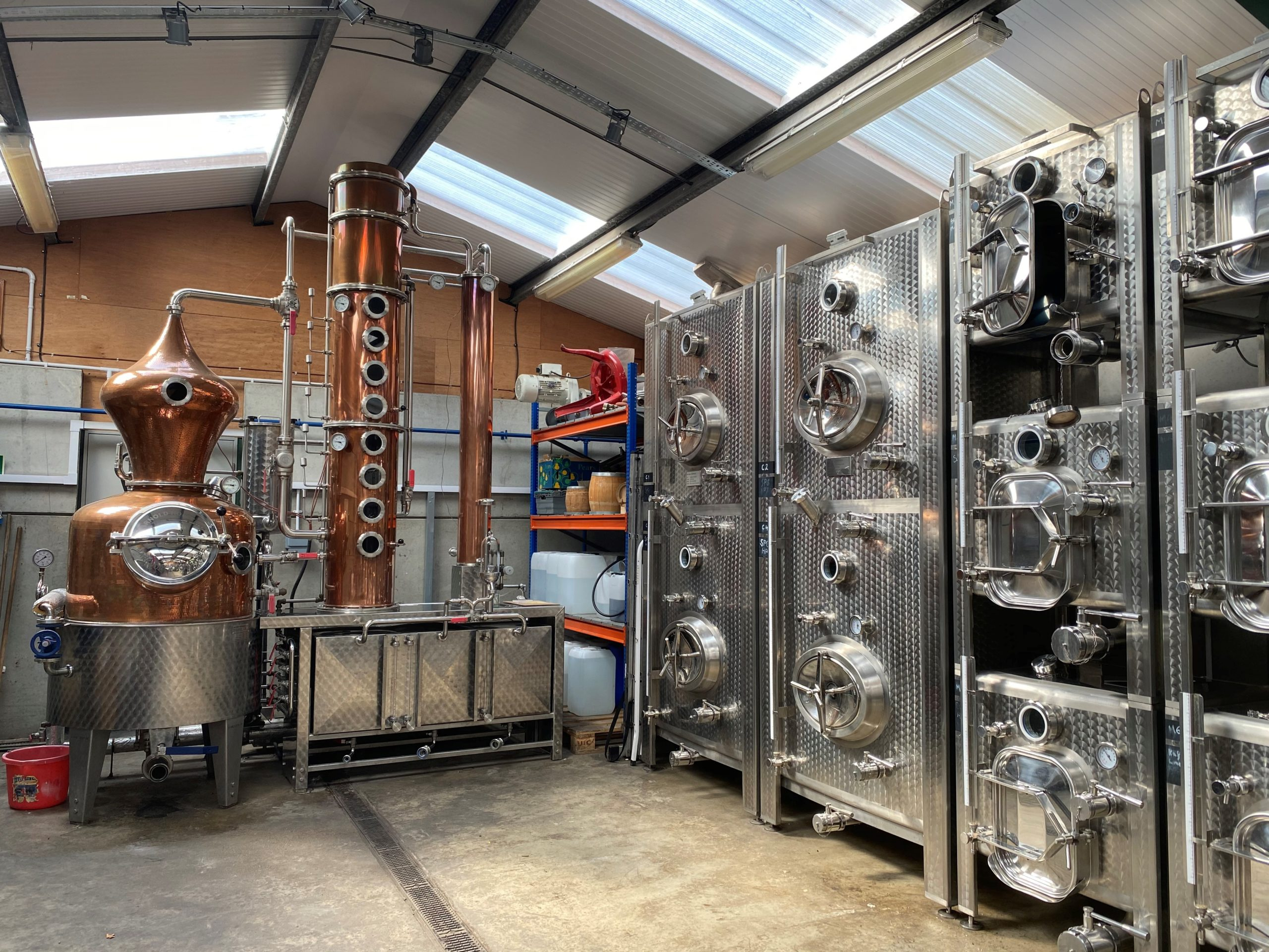 One of Silent Pool's copper stills